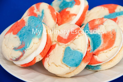 Fourth of July patriotic cookie sandwiches
