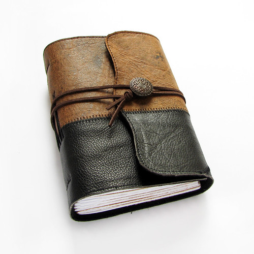 leather journal with vintage button