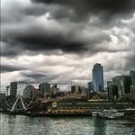 Bainbridge Ferry, leaving a slice of #Seattle skyline behind