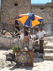 A coffee and tea cart just in front of the entrance to the Karak Castle.