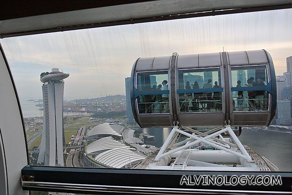 Nearing the highest vantage point of the Singapore Flyer