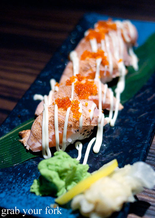Aburi salmon sushi at Lantern by Wagaya Sydney