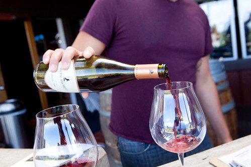 Pouring the Iron Horse Estate Pinot Noir 2010