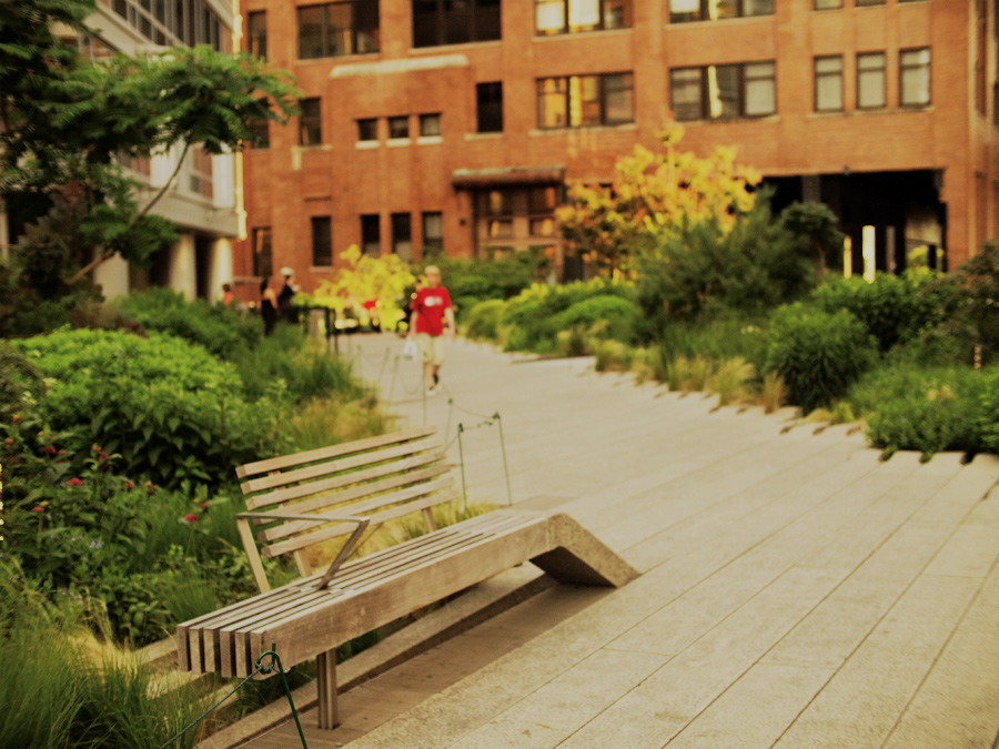 A park bench on the Highline