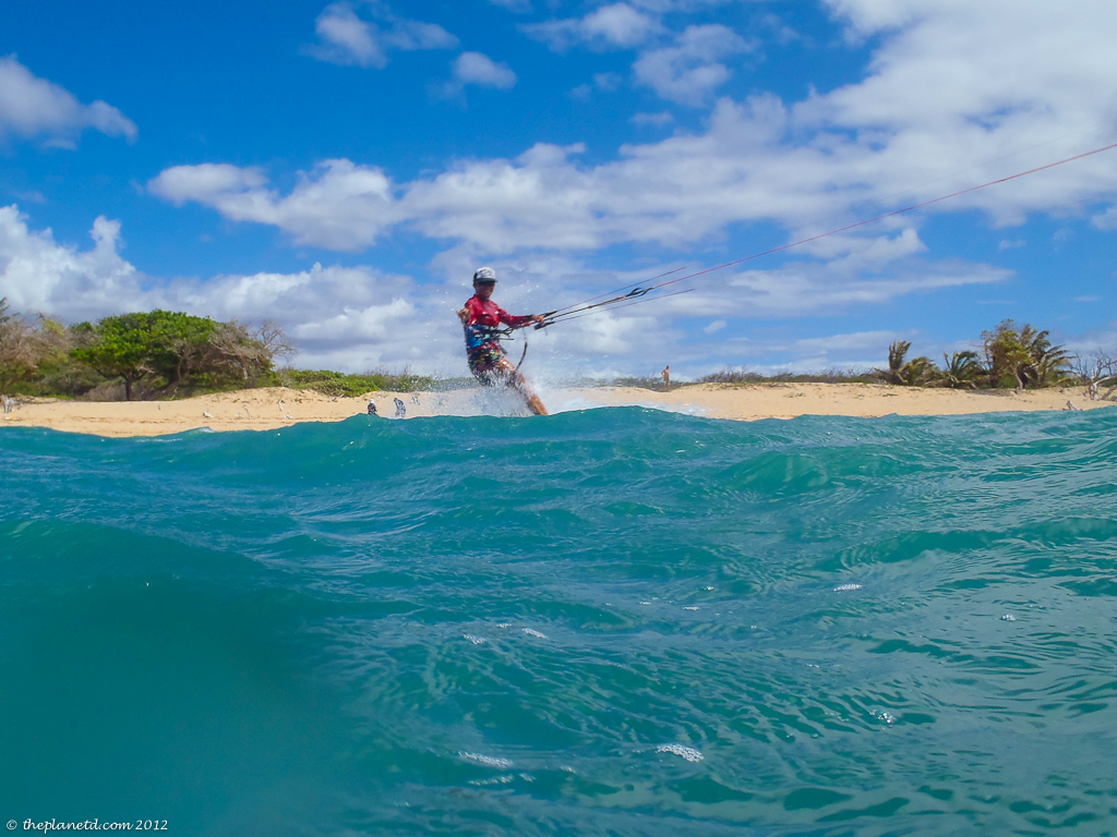 kitesurfing of coast in maui