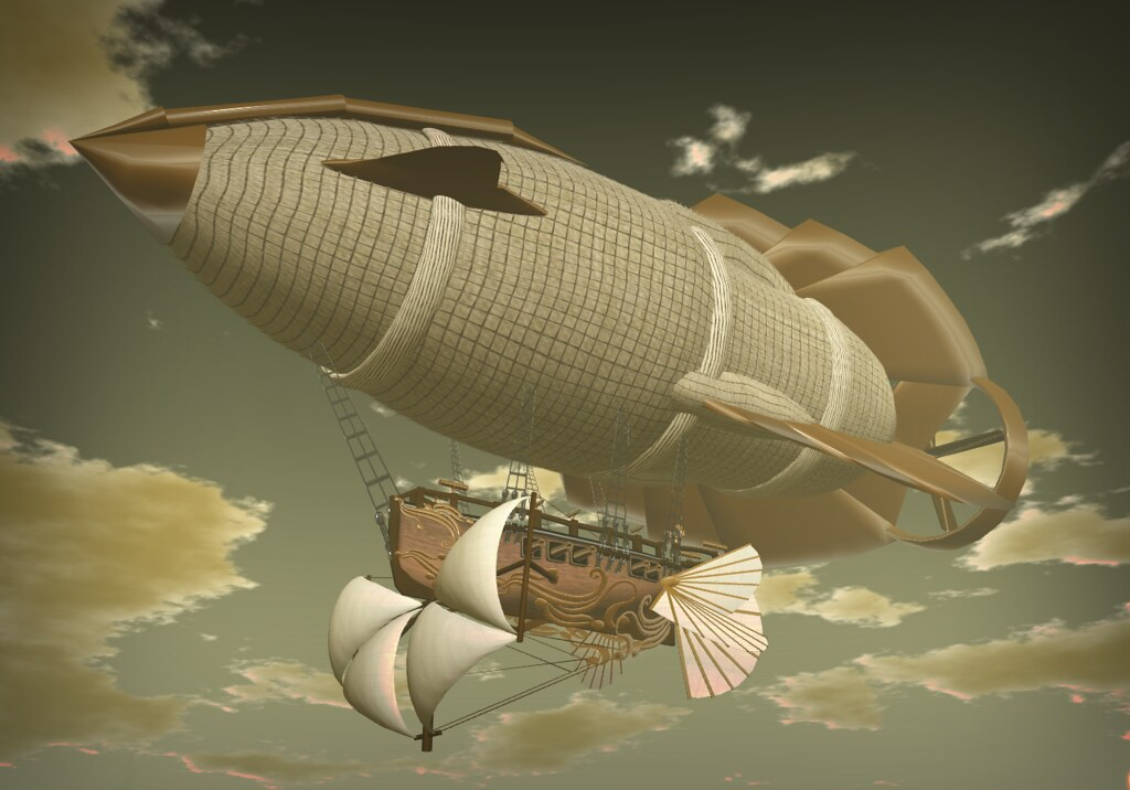 Air Ship over New World's Steampunk Station (SL9B)