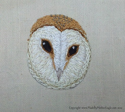 Miniature Barn Owl embroidery