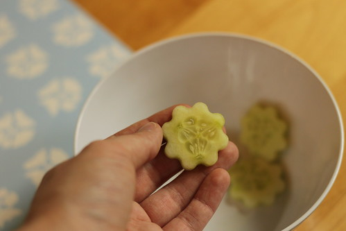 flower punched cucumber slices