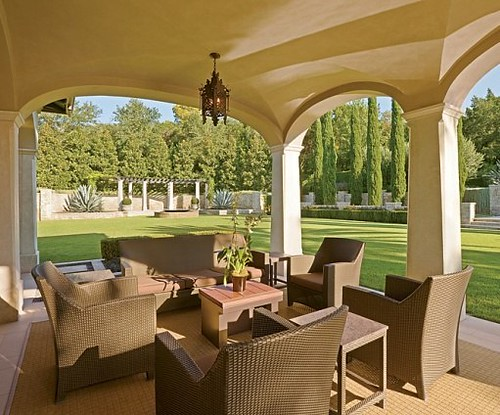 outdoor wicker furniture on lance armstrong patio