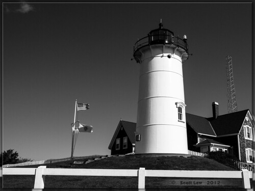 Nobska Lighthouse in B&W by Just Used Pixels