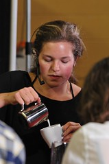 Katie Hockin (Cafe Haven) preparing her cappuccino