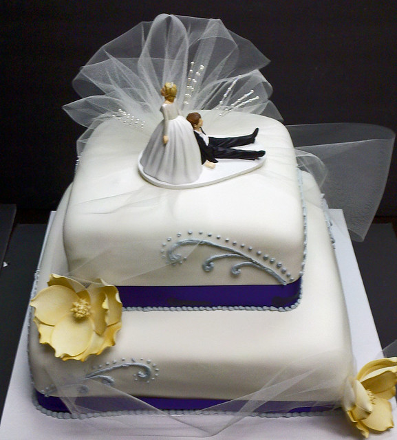 Close Up On Two Tier Square Wedding Cake