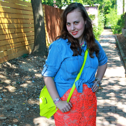 "Neon loves chambray outfit: ""washed chambray buttonup"" from Anthropologie, neon lace pencil skirt, DIY neon necklace, dolce vita sandals, neon satchel, etc."