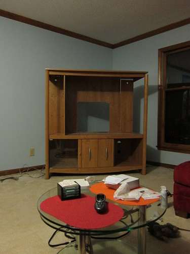 The old empty entertainment center