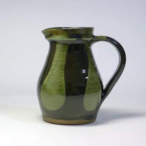 黒木富雄窯 5寸ピッチャー/化粧流し掛け・緑釉