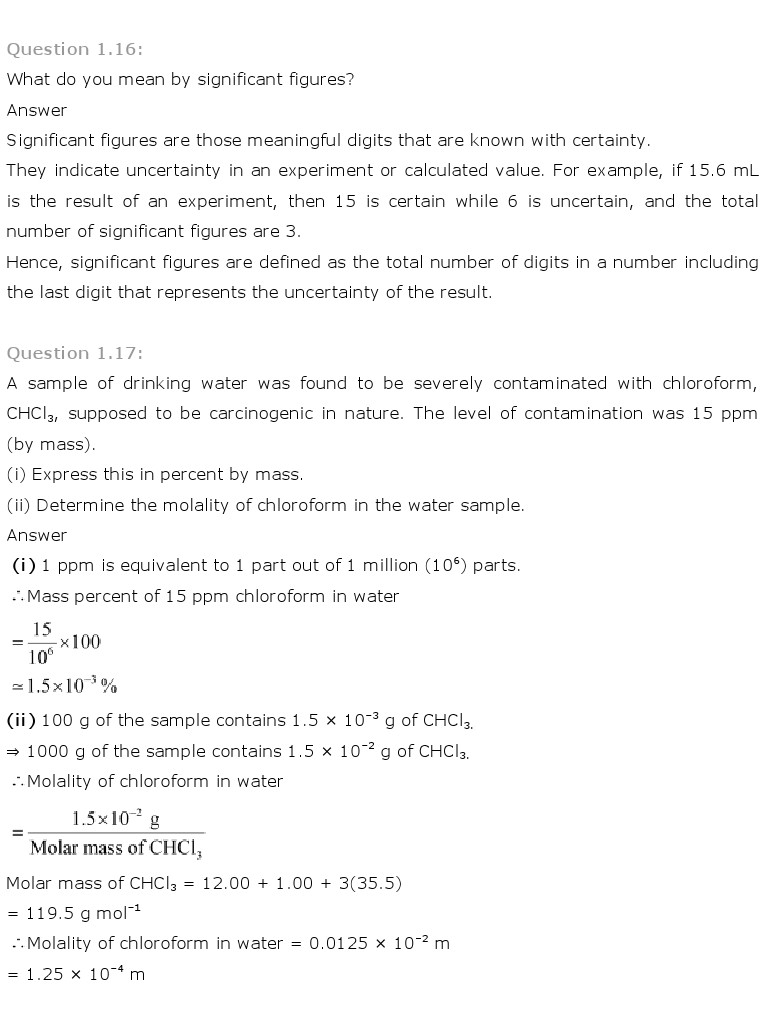 NCERT Solutions for Class 11 Chemistry Chapter 1 - Some basic Concepts of Chemistry
