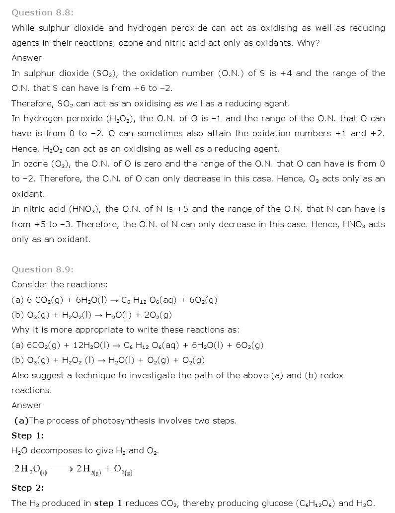 worksheet Redox Reaction Worksheet ncert solutions for class 11 chemistry chapter 8 redox reactions 11th solution is given below
