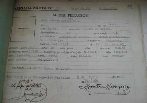 Ficha de filiación militar del cabo de Pedro Moreno Raya, natural de Higuera de Arjona (Jaén)