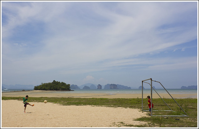 Kids playing football at Koh Yao Noi Island