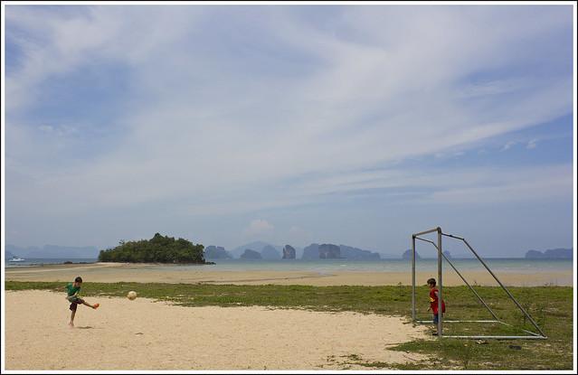 Kids playing football at Koh Yao Noi Island