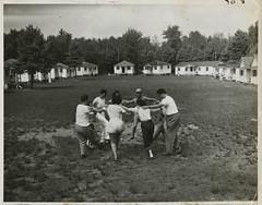 Jewish youth dancing the hora at Camp Wel-Met, October 1948