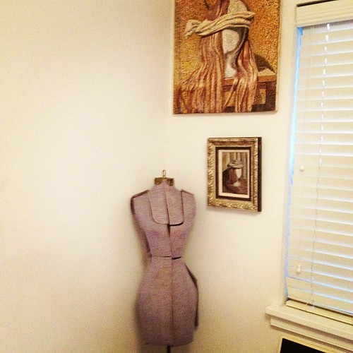 dressform and paintings