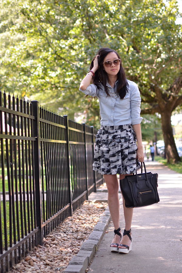 chambray-theory-skirt-chloe-kirsten-celine-micro-luggage