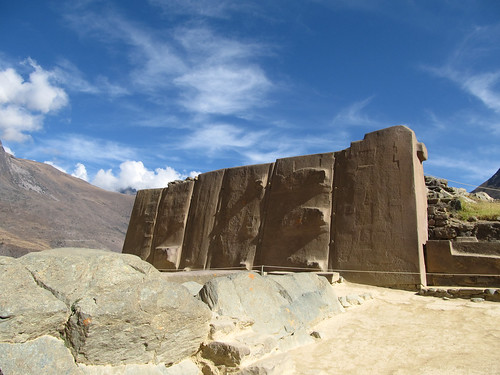 Forteresse de Ollantaytambo: le Temple du Soleil. Les sculptures de Pumas et de la Croix du Sud inca ont malheureusement disparus