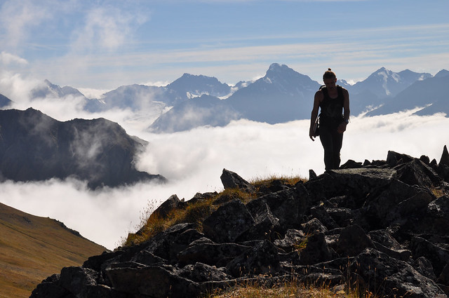 Hiking above the clouds. Chugach State Park, Alaska