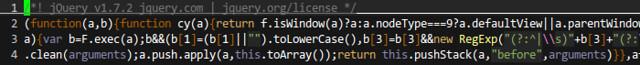 圖3: jQuery 1.7.2 壓縮版本的程式 (http://code.jquery.com/jquery-1.7.2.min.js)