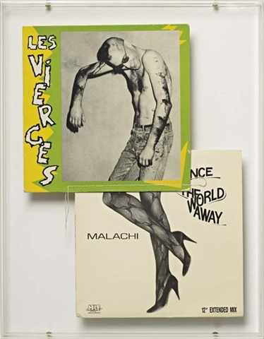 Christian Marclay, Les Vierges, 1991, record covers and thread in plexiglas frame