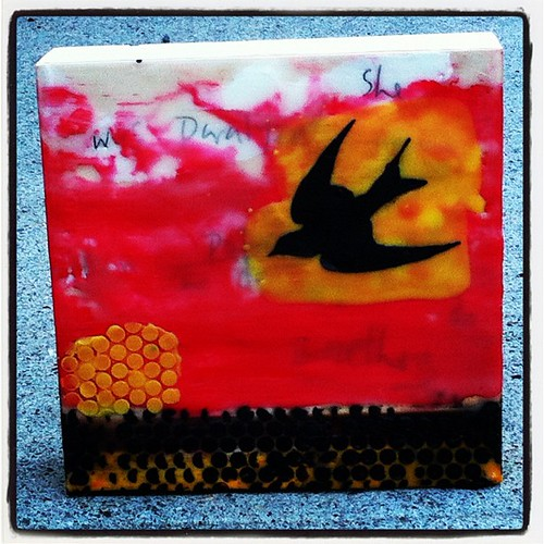 Encaustic - Swallow by Kate Daniel