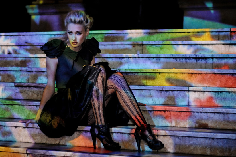 Midnight Cowboy, Night Editorial Sydney, colpured light on Town Hall stairs, Fashion Photography