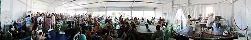 Panorama of WWOZ Hospitality tent. Photo WWOZ.
