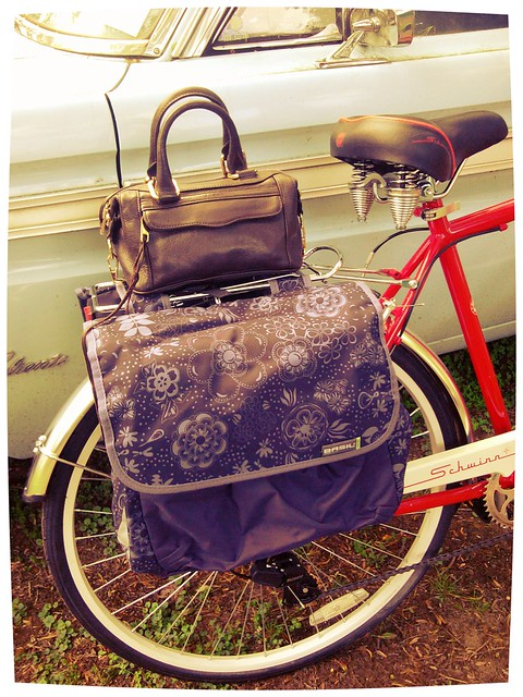 Paniers on my bicycle by Basil of the Netherlands and handbag by Rebecca Minkoff