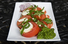 Caprese Salad with Scape Pesto