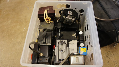 Bin of Old Cameras