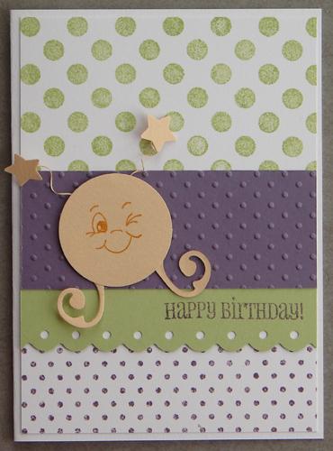 carte à pois, anniversaire, martien