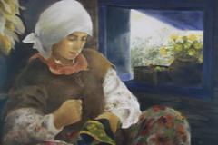 古秀惠的畫,將魯凱女性刺繡的神情傳達出來。