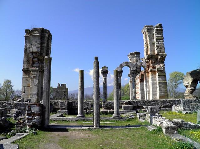 The imposing early Christian Basilica (Basilica B) next to the Forum, Philippi
