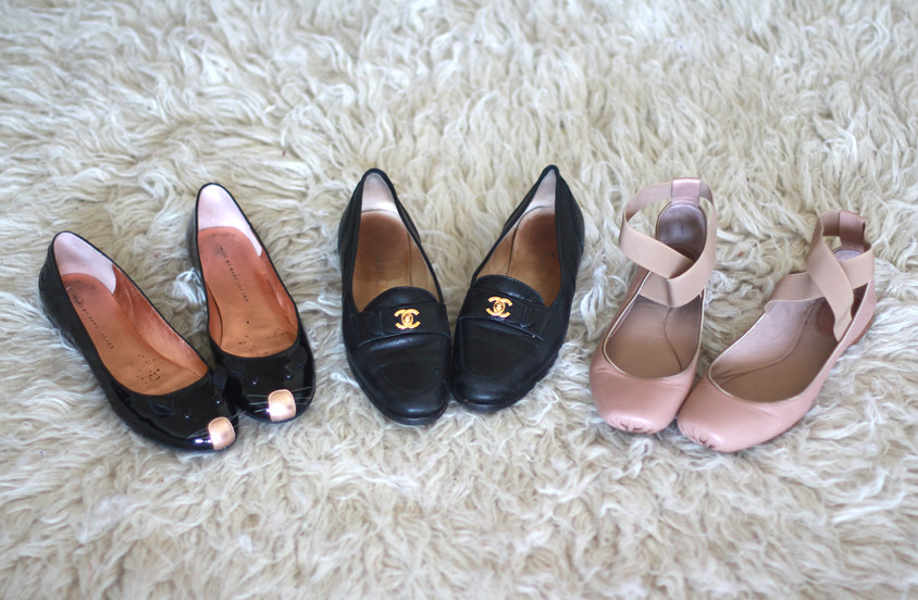 Vintage Chanel loafers, Chloe square toe ballet flats with straps, Marc by Marc Jacobs Mouse Flats