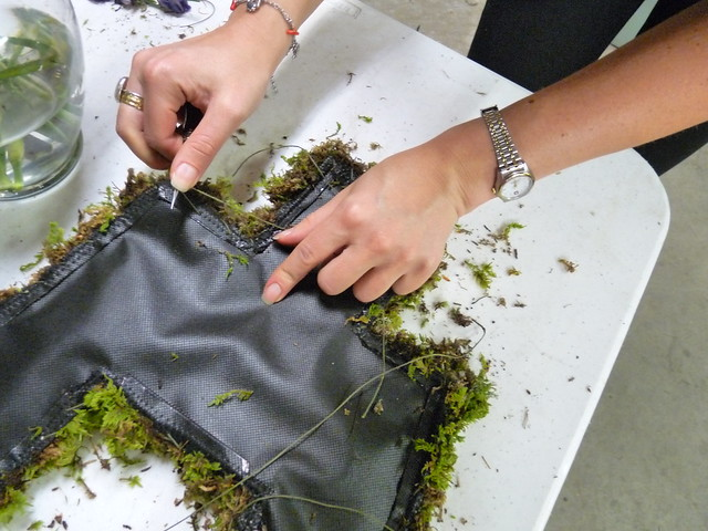 Dextras hand-sews live moss to a piece of the underlying dress. Photo by April Greene.