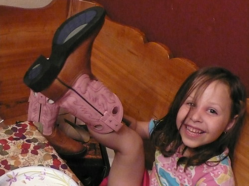 Daisy with her birthday Cowgirl Boots