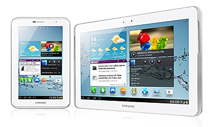 Samsung GALAXY Tab 2 in 7-inch and 10.1 inches.