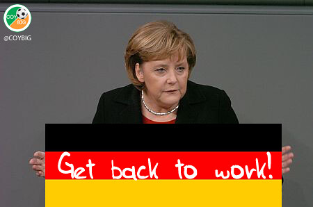 "Angela Merkel hits back at #donttellmerkel campaign by telling the Irish / Spanish / Greeks to ""Get back to work!"" via @COYBIG"