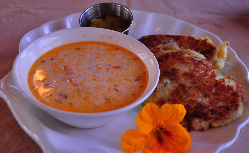 Chowder and Fish Cakes at the Train Station Inn, Tatamagouche, Nova Scotia