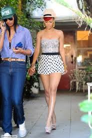 Rihanna Clashing Prints Celebrity Style Women's Fashion