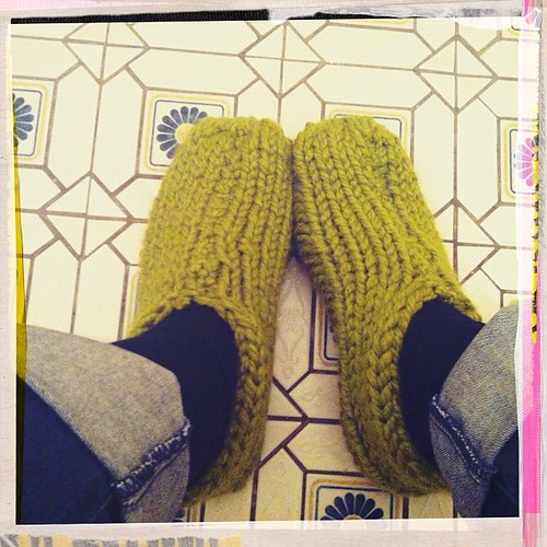 Home sick: I made these house slippers - they're ugly but super comfy and warm! And they took 1.5 hours to knit! #knitgeek