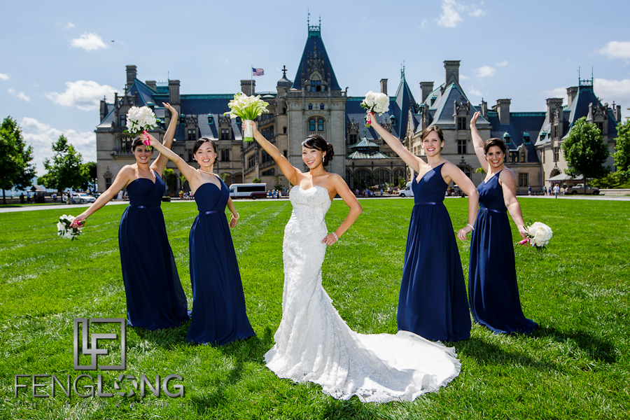 Bridesmaids in front of Biltmore | Maggie & Michael's Wedding | Lioncrest at Biltmore Estate | Asheville North Carolina Destination Wedding Photographer