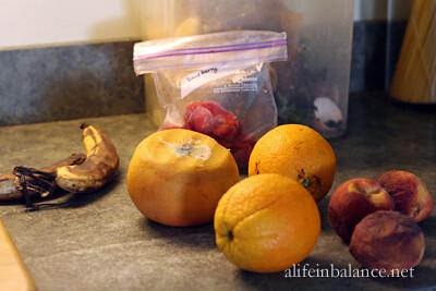 Mixing the fruit salad